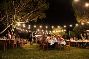 Wedding reception at Lake Breeze Wines, Langhorne Creek South Australia featuring festoon lights and food trucks