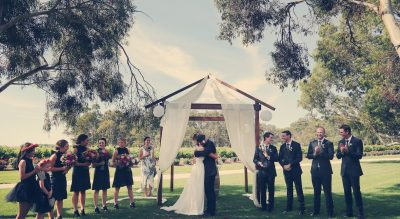 Wedding ceremony at Lake Breeze Wines, Langhorne Creek South Australia