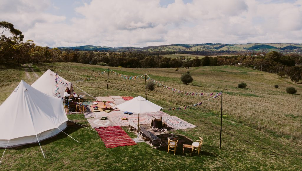 Tent on a Hill, Blewitt Springs, Fleurieu Peninsula, Unique Event Space suitable for open air dinners, tipis and ceremonies, receptions and glamping.