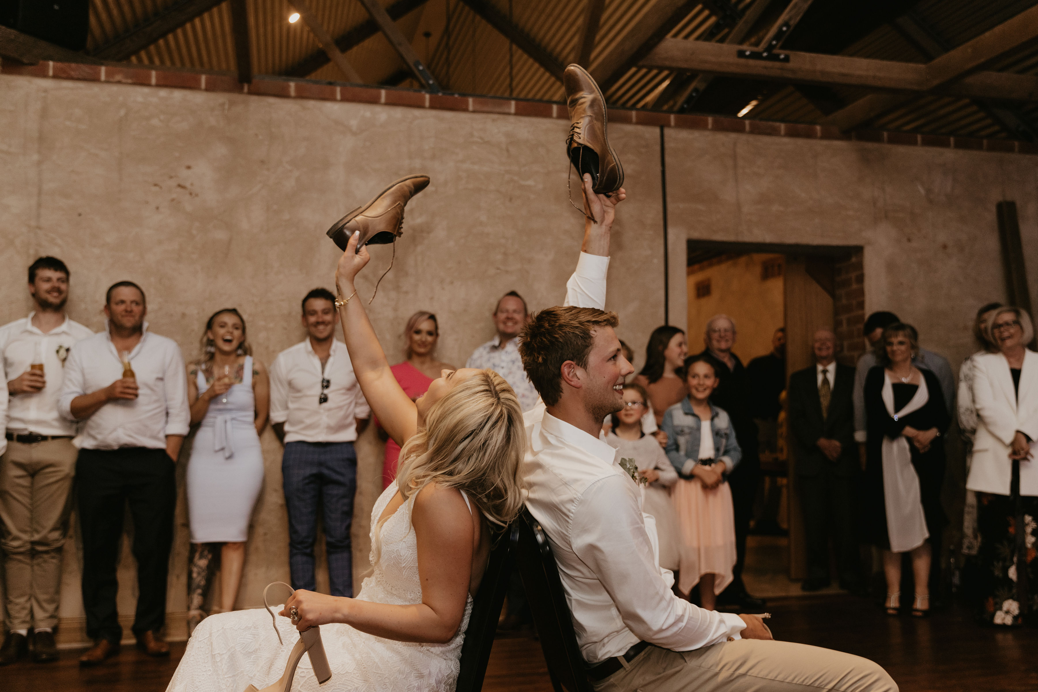 Wedding Shoe Game. Barns of Freeling, South Australian Wedding Venue