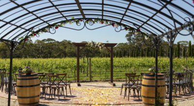 The Vine Shed is a purpose-built function centre in McLaren Vale, Fleurieu Peninsula, with modern industrial styling, ideal for wedding ceremony and reception, overlooking a lake and vineyards